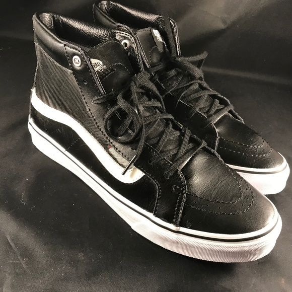 Leather Hi Top Vans With Mesh Size
